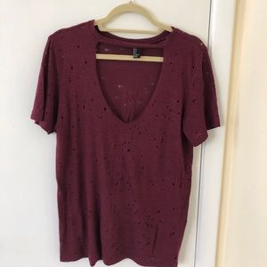 Forever 21 Ripped Distressed Burgandy Choker Tee